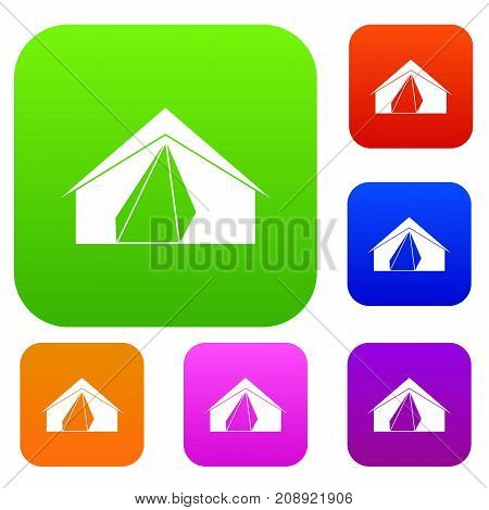 Open tent set icon color in flat style isolated on white. Collection sings vector illustration