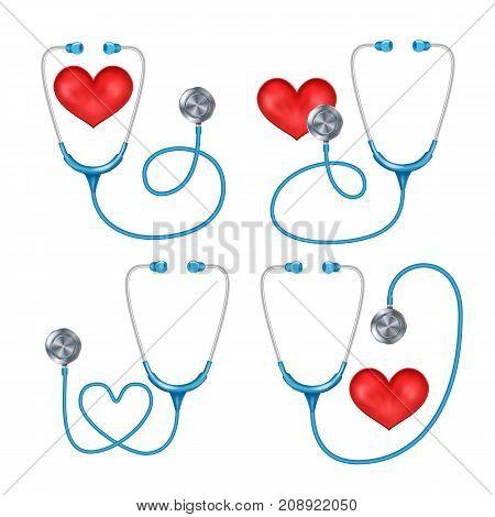 Stethoscope, Phonendoscope Set Isolated Vector. Medical Instrument For Listening. Isolated On White Background