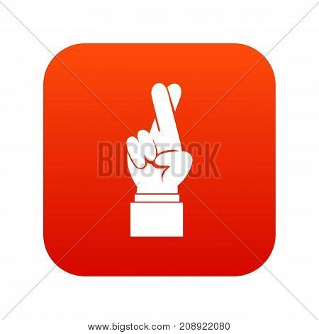 Fingers crossed icon digital red for any design isolated on white vector illustration