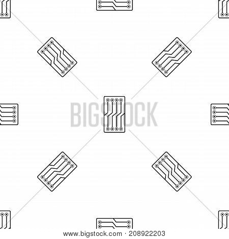 Circuit board pattern repeat seamless in black color for any design. Vector geometric illustration