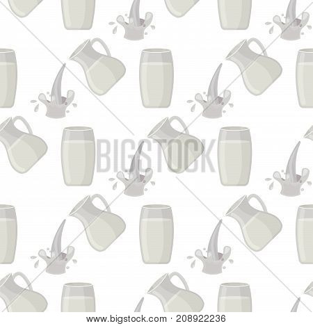 Jar of milk traditional nature nutritious seamless pattern pasteurized cream milky white drink beverage dairy healthy product vector illustration. Jug freshness protein ingredient breakfast container.