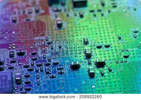 Computer microprocessor chip development. Modern scientific technology. Engineer data electronics science design engineering future motherboard hardware digital information concept