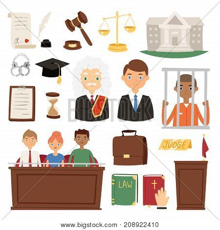 Law judge process legal court icon set judgement justice system jury criminal concept vector illustration. Courtroom jurisdiction man character jury lawyer.