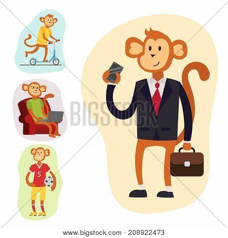 Monkey cartoon businessman suit profile icon portrait. Chimpanzee happiness man flat vector illustration. Ape person costume character design.