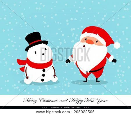 Santa Claus and Snowman. Emotional Christmas and New Year's characters. Humorous xmas collection. Good for congratulation card banner flayer leaflet poster. Vector illustration