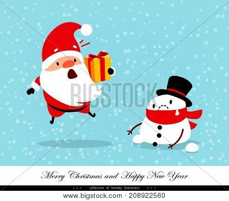 Santa Claus and Snowman. Emotional Christmas and New Year's characters. Weather global warming thaw abnormal temperature. Humorous xmas collection. Vector illustration