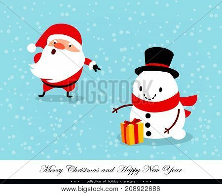 Santa Claus and Snowman with a gift. Emotional Christmas and New Year's characters. Humorous xmas collection. Good for congratulation card banner flayer leaflet poster. Vector illustration