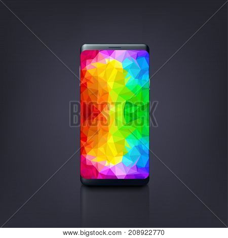 illustration of new design smatphone with very bright colorful screen on dark background