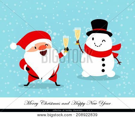 Santa Claus and Snowman with glasses of champagne. Humorous xmas collection.