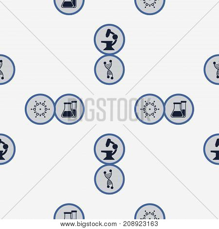 Vector Seamless Pattern With Science Icons