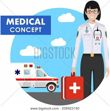 Medical concept. Detailed illustration of medical people in uniform on background with medical center and ambulance car in flat style. Vector illustration.