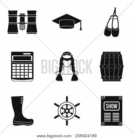Binoculars icons set. Simple set of 9 binoculars vector icons for web isolated on white background