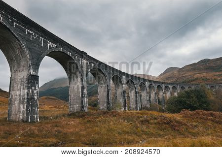 Antique aqueduct - glenfinnan viaduct, Scotland, United Kingdom - horizontal