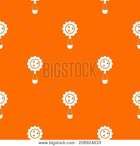 Rattle baby toy pattern repeat seamless in orange color for any design. Vector geometric illustration