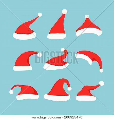 Santa hat set. Collection of Christmas and New Year hats