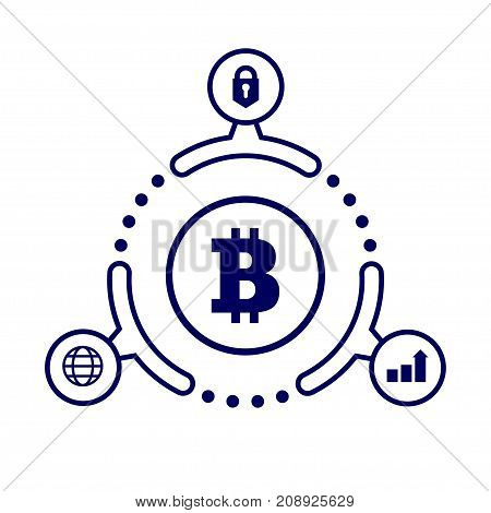 The Advantages Of Cryptocurrency. Illustration In Flat Style. On White Background.