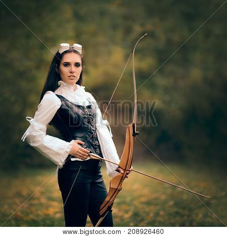 Female Archer Warrior in Costume with Bow and Arrow