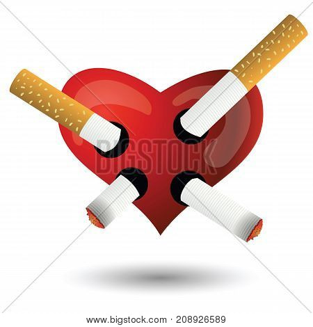 red heart and cigarettes isolated on white background