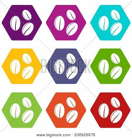 Coffee beans icon set many color hexahedron isolated on white vector illustration