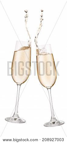 two glasses of champagne toasting creating splash isolated on white background. Cheers. Pair of champagne glasses making toast. Drink for New Year celebration. Festive alcohol beverage