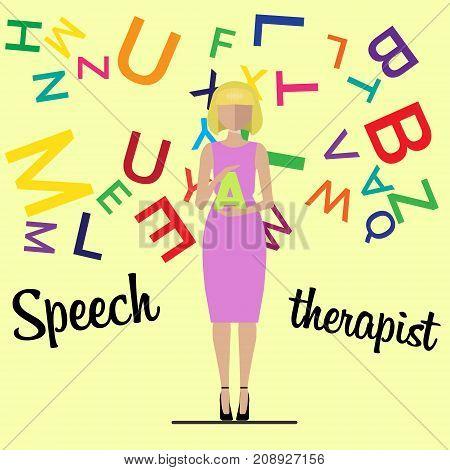 Speech Therapist. Woman Teacher