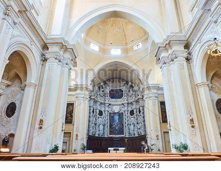 Chancel Of Chiesa Del Gesu Of Lecce. Puglia, Italy.