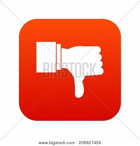 Thumb down gesture icon digital red for any design isolated on white vector illustration