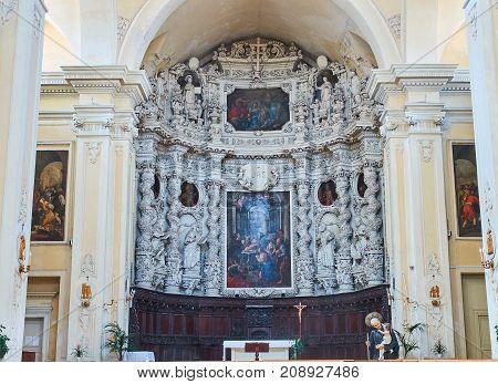 Altarpiece Of Chiesa Del Gesu Of Lecce. Puglia, Italy.