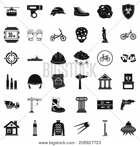 Stone icons set. Simple style of 36 stone vector icons for web isolated on white background