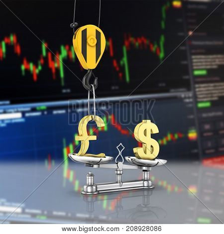 Concept Of Exchange Rate Support Dollar Vs Pound The Crane Pulls The Pound Up And Lowers The Dollar