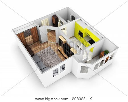 Interior Apartment Roofless Perspective View Apartment Layout 3D Render