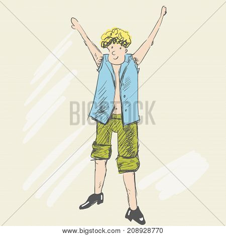 A joyful blond man got to the goal. A teenager raised his hands up. A person is dressed in torn clothes, rolled up green pants to a knees. Sketch style. Vector cartoon illustration