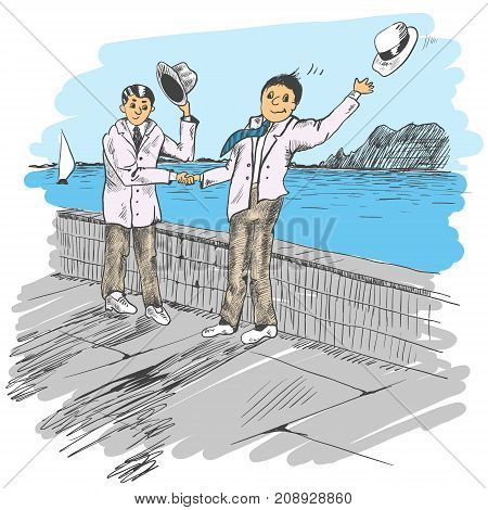 Comic strip. Two men met by a sea. Friendly greeting. People take off their hats as a sign of respect. One hat flew off. Sketch style. Vector illustration