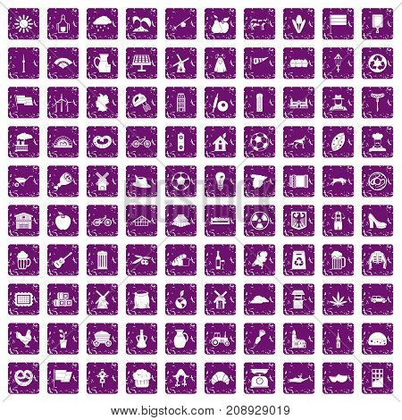 100 mill icons set in grunge style purple color isolated on white background vector illustration