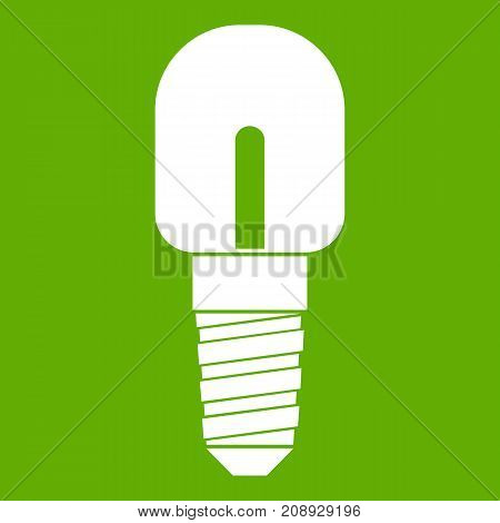 Light bulb icon white isolated on green background. Vector illustration