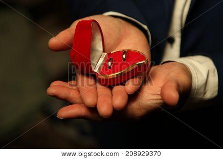 Wedding rings in a box of red velvet