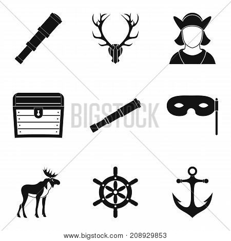 Spyglass icons set. Simple set of 9 spyglass vector icons for web isolated on white background