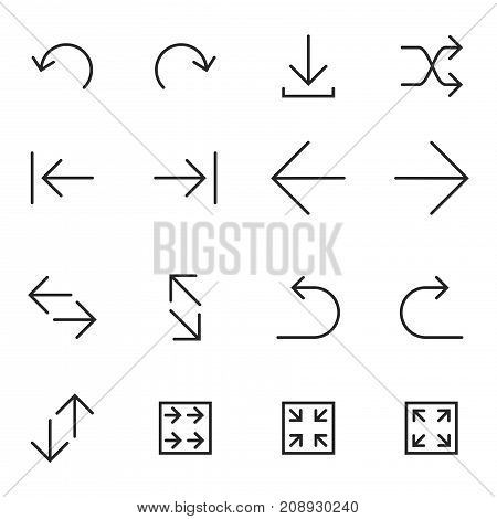 Set of Linear Arrow icons. Universal Arrow icon to use in web and mobile UI Arrow basic UI elements set - Vector Iconic Simple Line