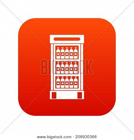 Fridge with refreshments drinks icon digital red for any design isolated on white vector illustration
