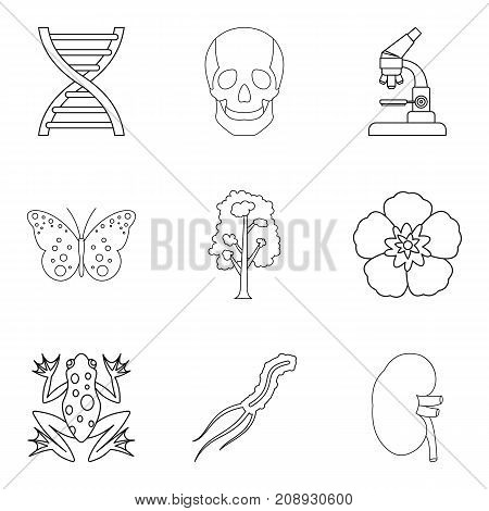 Biologist icons set. Outline set of 9 biologist vector icons for web isolated on white background