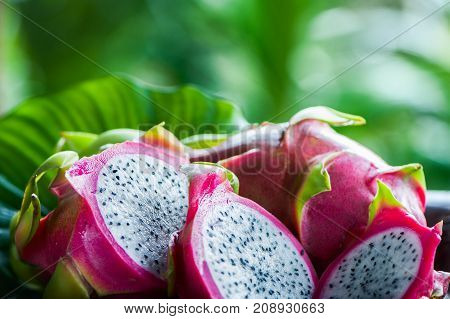 Dragon fruit macro, whole and chopped. Still life. Exotic fruits