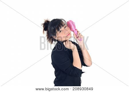 Asian Woman Cools Herself With A Handheld Portable Fan And Looking At Camera Isolate On White Backgr