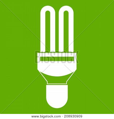 Fluorescence lamp icon white isolated on green background. Vector illustration