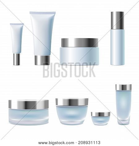 Set Realistic 3D Cosmetic Package Cream Jar Tubes. Light Blue Silver Metallic Containers Glass Plast