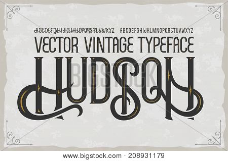 Vector vintage typeface Hudson . Vector font with style effects