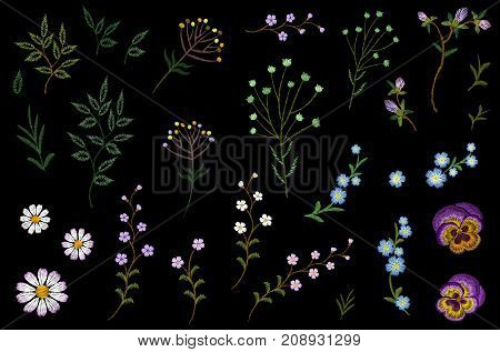 Embroidery flower field herb collection. Fashion print patch design floral DIY set. Stitched texture daisy pansies leaves branches vector illustration art