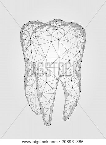 3d model tooth polygonal structure logo. Stomatology symbol low poly triangle abstract oral medical care business concept. Connected dot particle white gray vector illustration