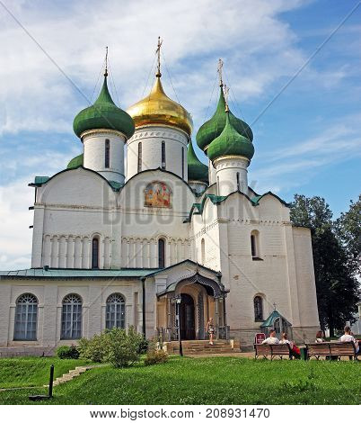 Suzdal Russia - 16 July 2017: Transfiguration Cathedral is located in the Saviour Monastery of St. Euthymius. Monument of Russian architecture of the end of XVI century.
