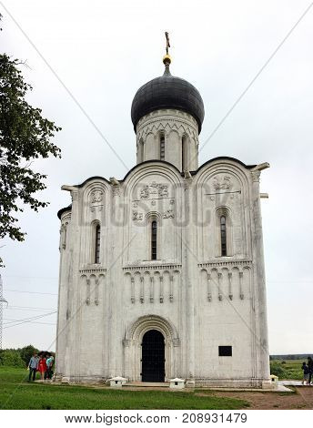 Bogolyubovo Russia - 16 July 2017: Church of the Intercession of the Holy Virgin on the Nerl River is an Orthodox church and a symbol of medieval Russia. In 1992 the church was added to the UNESCO World Heritage List