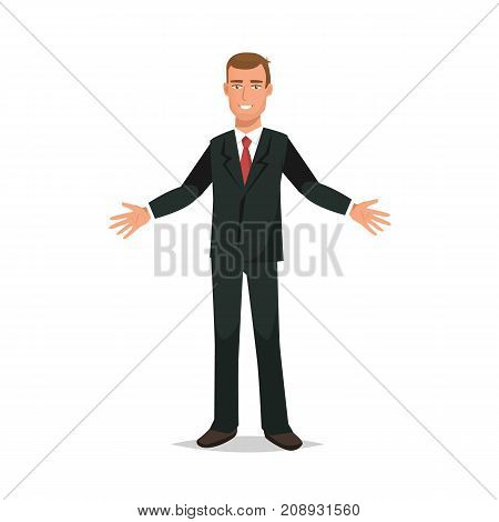 Businessman working cartoon character person in different situations. Office worker in office clothes, in strict business suit, rejoices in success, growth, leadership. Vector illustration.